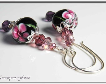 Pink Flower Lampwork Earrings - Flower Blossoms in black, light purple, and pink with Swarovski Crystals