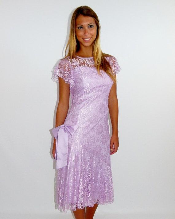 Vintage 80s jc penney lavender lace prom bridal wedding dress for Jc pennys wedding dresses