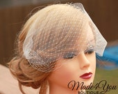 Birdcage Tulle Bandeau Veil-Double Bandeau Veil- Fascinator-Veil Only-Ivory, White, Champagne