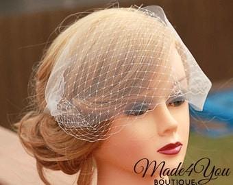 Birdcage Tulle Bandeau Veil-Double Bandeau Veil- Fascinator-Veil Only-Ivory, White, Champagne
