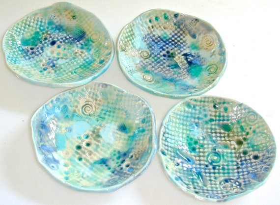 Small dish set, hostess gift, coasters, Tapas Dish, Aqua dish, Appetizer Dish, Coasters, Small Plates