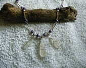 Sea glass necklace with purple pearls. Sea glass jewelry.