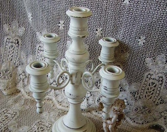 Shabby French Country Candleabra, five holder, chippy, creamy white, distressed, wood, metal, painted vintage