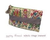 Clutch, Wristlet, or Wallet in Vintage Floral Ikat Fabric