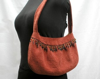 Medium Buttercup Handbag, Purse, Shoulder Bag, Autumn Rust Paisley, Beaded Fringe