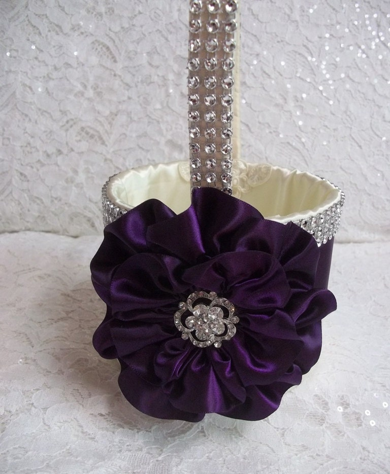 Flower Girl Baskets Ivory Uk : Ivory flower girl basket with a dark plum purple and