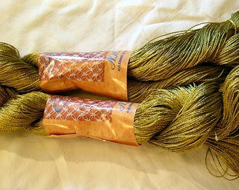 "Viscose Silk Yarn: Shining, Superfine / Lace weight, bright crochet yarn, color mossy green light. Yarn ""ajur""."