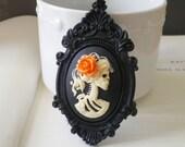 Halloween Jewelry. Skeleton Necklace. Halloween Necklace. Gothic Wedding. Cameo Necklace. Skull Jewelry. Gifts Under 25. - Madame Mayhem