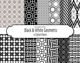 Digital paper pack in black and white, digital backgrounds, geometric shapes - 12 jpg files 12x12 - INSTANT DOWNLOAD Pack 298