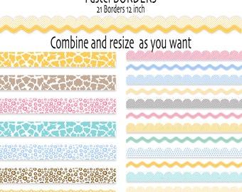 21 Digital borders or ribbon clip art in pastel, Baby Digital Border,  animal print,  INSTANT DOWNLOAD Pack  380