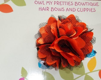 ORANGE BLACK Satin and Tulle HALLOWEEN Fall Flower Hair Clip Babies Toddlers Girls