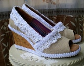 Custom Wedding TOMS -- Burlap Wedge design -- White lace
