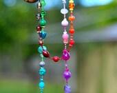 Rainbow Semi-Precious Stone - 1 Strand Handmade Beaded Necklace