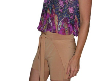 Womens Wrap Around Shorts Tie On Swimsuit Cover Up Gold Beach Shorts, Wrap Shorts Tan for Women and Teens One of a Kind hisOpal Swimwear
