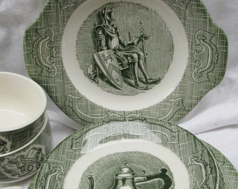 Old Colony DInnerware - Knights on Green Transfer-ware/Teacups Saucers Plates