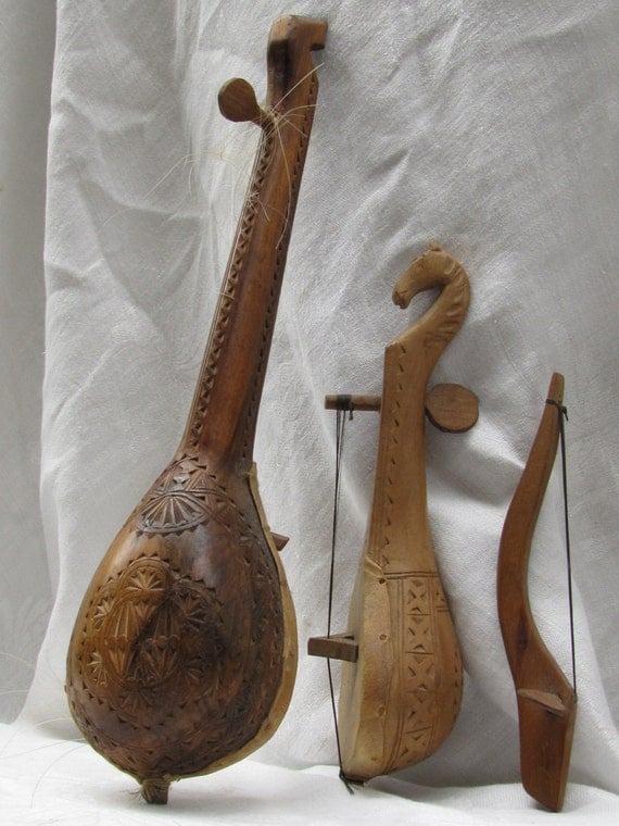 Unique Gusle String Instrument Intricately Hand Carved Horse