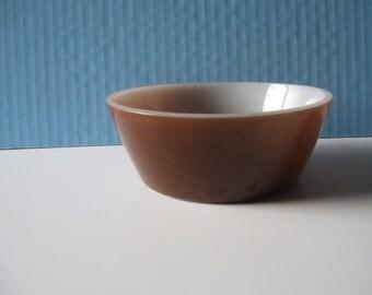 Vintage Fire King cereal bowl brown exterior white interior MCM kitchen