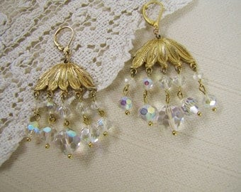 Crystal Chandelier Earrings- Vintage Upcycled- Old Gold and Aurora Borealis Crystal- One of a Kind