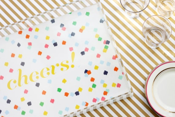 LARGE Lucite Serving Tray - Confetti - Custom/Monogrammed/Personalized
