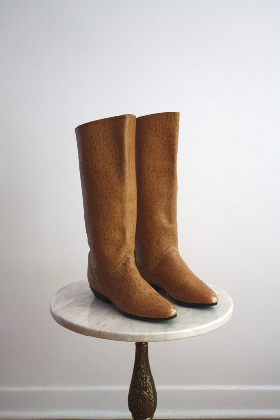 leather boots s 7 7 5 ostrich skin 1970s by fiiimac