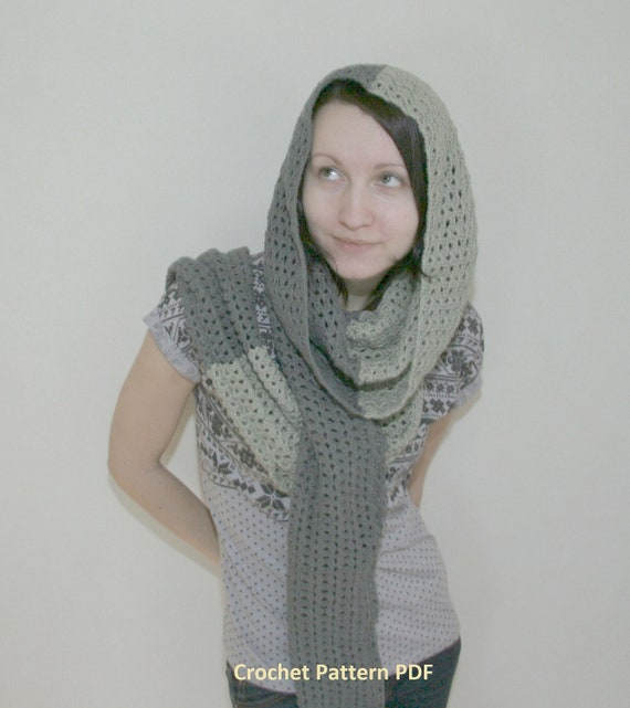 Crochet pattern PDF - Transformer 4in1 - Sizes L-XL-XXL, Two versions - Cowl Hood Shrug Scarf crochet pattern instant download