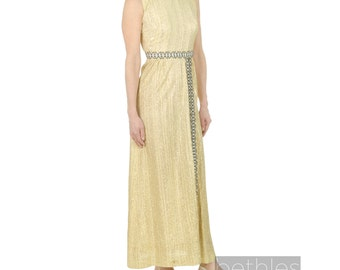 1970s Dress Gold Dress Greek Goddess Dress Evening Dress Gold Party Dress Vintage 70s Long Dress Long Gold Dress Sleeveless Dress