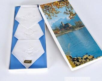 1960s Handkerchiefs White Handkerchief Embroidered Handkerchiefs Set Three White Hankies New in Box Hankies Vintage 60s White Hanky