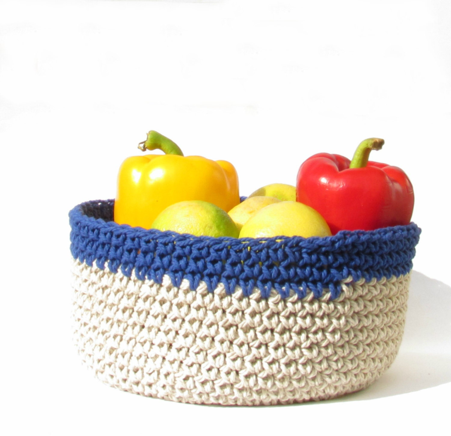 Cream And Blue Fruit Bowl Kitchen Basket By Theyarnkitchen