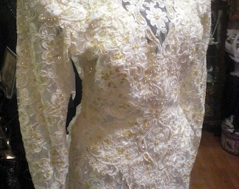 White Lace Sequined Beaded Wedding Gown