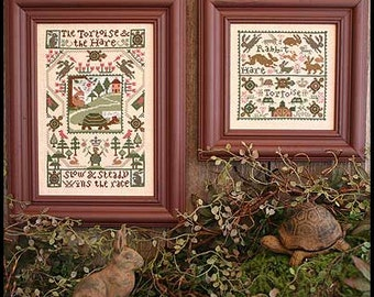 Tortoise and The Hare Book No. 162 Aesop's Fables cross stitch pattern by Prairie Schooler fairy tale children's story