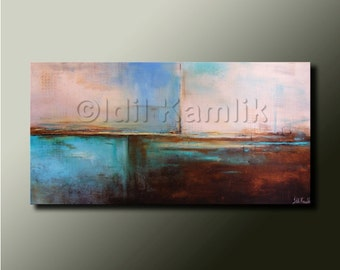 Modern Abstract Original PAINTING Contemporary Fine Art Wall Decor Brown earth tones and Blue by Idil Kamlik