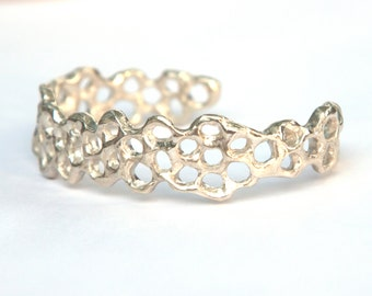 Honeycomb Slim Cuff Bracelet - Sterling Silver