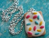 Poptart Necklace - Frosted Pastry with Sprinkles Charm Necklace - Polymer Clay