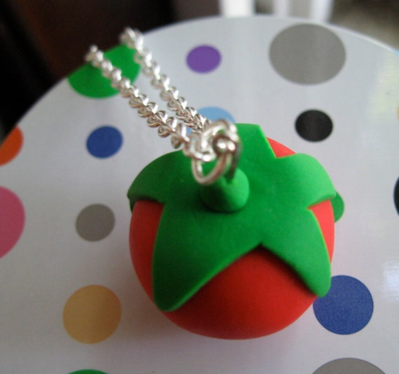 Tomato Necklace - Polymer Clay Tomato Charm Necklace