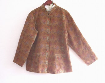Earth Colors Gypsy Tribal Tapestry  Jacket. cotton brocade Jacket