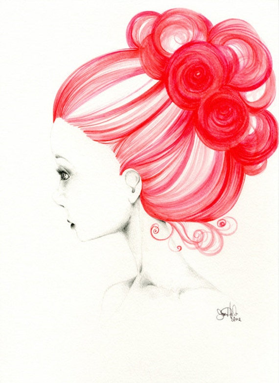 "Art Painting Watercolor Original OOAK Watercolor Painting Pencil Drawing ""Grace"" red teamt"