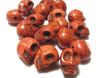 15 Orange Day Of The Dead Sugar Skull Beads - Dyed Howlite Tuquoise - 1/2 Inch / 12mm