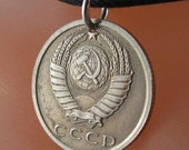 SOVIET UNION COIN necklace jewelry pendant. cccp. russian necklace. hammer sickle 15 koneek  russia. eco-friendly.  Choose Year No.001180