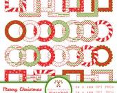 Christmas Digital Frames - Scalloped Frames - Christmas Printable Labels - Instant Download - Scrapbooking - png / jpg - Commercial Use