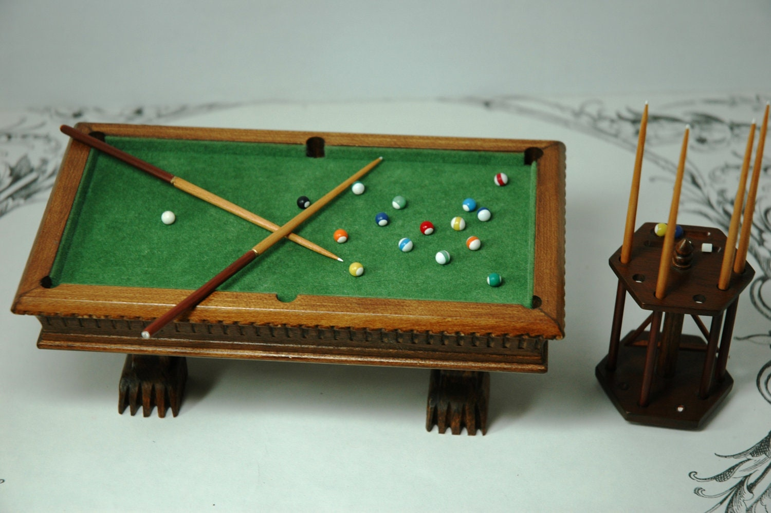 Vintage Miniature Dollhouse Pool Table And Cue Stand Artisan