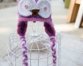 Fuzzy Purple, Pink and White Owl Beanie-  6-9 month Size Ready to Ship