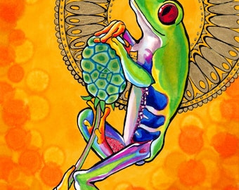 Felicificative Frog Print (Psychedelic Spiritual Mandala Haloed Red-Eyed Tree Frog Drawing in Orange and Yellow Copic Marker and Gold Paint)