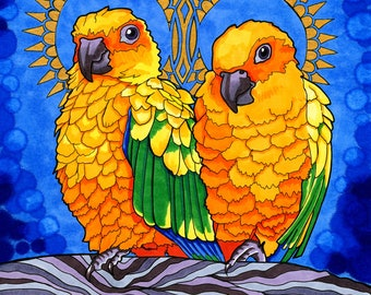 Loquacious Lorikeets (Psychedelic Spiritual Mandala Haloed Rainbow Bird Drawing in Cobalt Blue Marker and Gold Shimmering Paint)