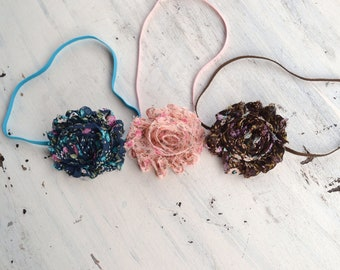 Set of 3 Shabby Rose Headbands or clips- newborn photo prop, babies, girls, women, shabby chic