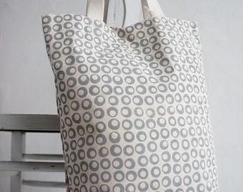 Handprinted Canvas Tote Organic Cotton Stone Grey