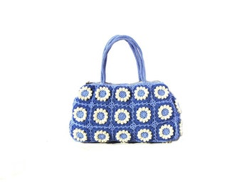 Flower crochet handbag, crochet bag in navy blue and cream colors