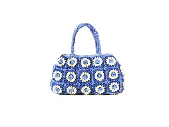 Flower crochet handbag, crochet bag in navy blue and cream colors