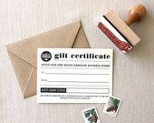 Gift Certificate for address stamp from the chatty press  - choose wood handle or self inking last minute gift