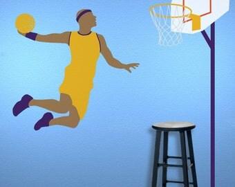 Basketball Wall Mural Stencil Kit for Boys Sports Room (stl1018)