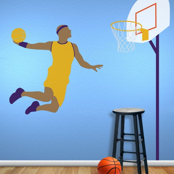 basketball wall mural stencil kit for boys sports room